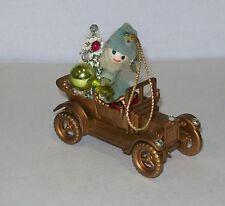 Vintage Spun Cotton Santa Antique Car Christmas Tree Ornament Bottle Brush Tree
