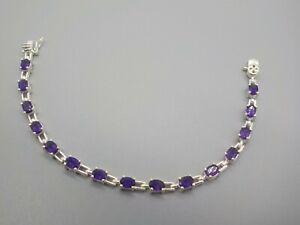 """Ross Simons 925 Sterling Silver Genuine Amethyst Tennis Bracelet 7"""""""