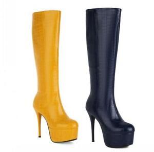 13cm Stilettos High Heel Platform Mid Calf Boots Women Shoes Sexy Gothic 34-43 L