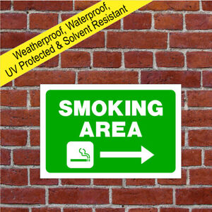 Smoking area sign or sticker with Right arrow 9058WGR durable and weatherproof