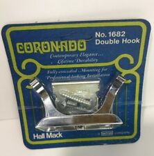 NOS Vintage Hall Mack Coronado Polished Chrome Double Robe Hook Wall Mount 1682