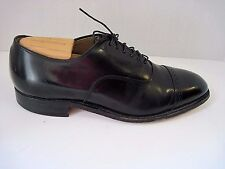 JOHNSTON MURPHY BLACK LEATHER CAP TOE OXFORDS, MENS SIZE 9 1/2 D/B, MADE IN USA