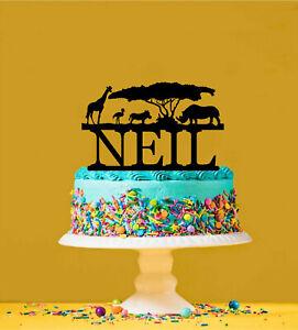 Safari Giraffe Rhino Africa Personalised Acrylic Cake Topper