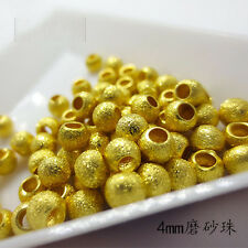 10 PCS Solid 999 24K Yellow Gold 4mm DIY Sand-finished Beads  (Wholesale)