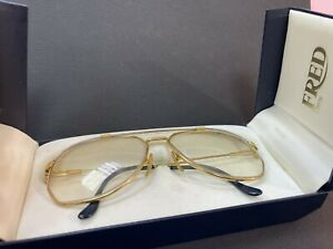 Authentic vintage rare Fred AMERICA CUP Eyeglasses steel rope gold trims R13