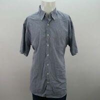 Mens Peter Millar Blue Plaid Short Sleeve Button Up Shirt Size XL