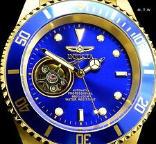"Invicta 40mm Blue Dial Automatic ""Coin Edged"" Bezel 18k Gold Tone Bracelet Watch"