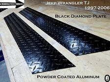 "Jeep TJ Wrangler 5 3/4"" Powder Coat Aluminum Diamond Plate Rocker Guards 1997-06"