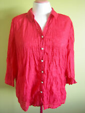 Ladies Womens Button Front Collar Shirt Blouse Top Red 3/4 Sleeve Millers Sz 18
