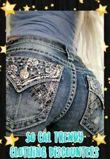 Miss Me Jean 8 9 10 or 28 29 30 Cuff Capri BLING♡Blue Crystal Stitch Flap Pocket