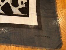 NEW BURBERRY SQUARE MODAL SILK  BLACK GRAY SCARF WRAP