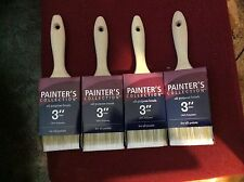 """LOT OF 4 PAINTER'S COLLECTION ALL PURPOSE BRUSH 3"""" 100% POLYESTER FOR ALL PAINTS"""
