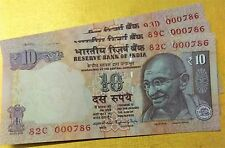 10 RUPEES ***000786***  INDIAN NOTE. U.N.C NOTE