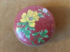 Chinese Cloissone Trinket Box Rnd Yello Floral Grn Blu Rust Stem Leaf Design Vtg