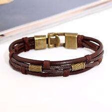 Multi Strand Leather Braided Bracelet Alloy Beads Bohemian Bracelet BlackBrown