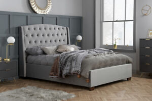 5FT King Size Winged Headboard Luxurious Buttoned Back Velvet Bed In Grey
