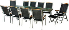Salon de jardin DIPLOMAT-XXL ALU Table 135-270 cm meuble de jardin terrasse Teck