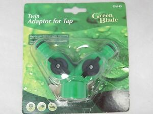 Green Blade twin adaptor for tap. Hose accessory.