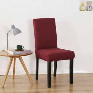 1/4/6pcs Solid Dining Room Chair Covers Stretch Spandex Seat Slipcover Protetcor