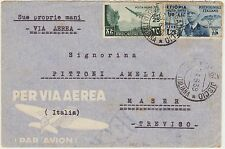 25 CENT AFRICA ORIENTALE ITALIANA + 1,25 ETIOPIA SU BUSTA MOGADISCIO X MASER
