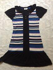Alice By Temperly Cotton Knit Dress Sz L Black With Stripes