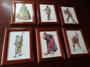THEATRE COSTUME PRINTS OF COMEDY/ MASKS X 6 PANTALONE, ARLECCHINA and 4 others.
