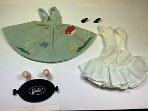 Vintage 1960-1964 BARBIE DOLL FRIDAY NIGHT DATE Outfit #979 w/ Flat Tray & Glass