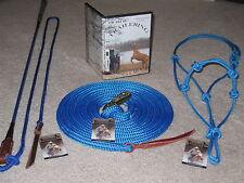 THOMEY NATURAL HORSE TRAINING GROUNDWORK SET, HALTER, LEAD, STICK, & DVD~ BLUE