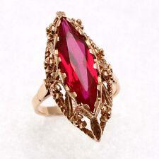 Estate 14k light rose gold Pink Marquise Filigree Ring Vintage USSR