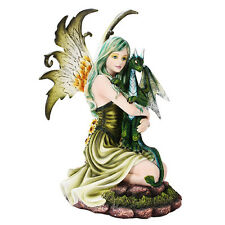 Green Hair Fairy Pixie Holding Dragon Figurine Statue Faery Collection Mystical