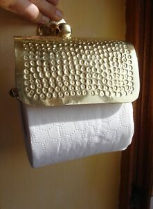 Moroccan BRASS hand  HAMMERED wall mounted toilet roll holder
