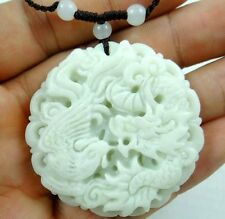 100% Chinese jade hand-carved the statue of dragon and phoenix PENDANT