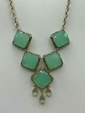 Kendra Scott Necklace faceted glass Cabochons Mint Sea foam Green Gold Tone