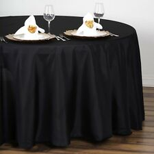 """5 BLACK 108"""" ROUND POLYESTER TABLECLOTHS Wedding Affordable Tabletop Supplies"""