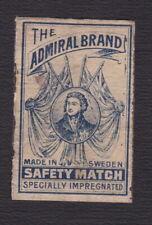 Ancienne étiquette allumettes Suède BN123002 The Admiral Brand