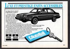 1984 CHRYSLER Classe E Vintage Original small Print AD -  AutoBail black variant