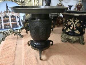Vintage Japanese Bronze Vase Ikebana Usubata Flowers Arrangement Heavy