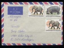 Burundi LETTER 1982-2x ELEPHANT  20 Fr stamps+HIPPOPOTAMUS 25 fr stamp-ANIMALS