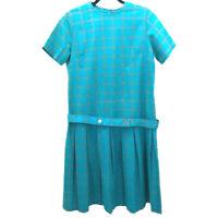 VTG 60s Carol Brent Womens Drop WaIst Dress Blue Windowpane Belted Pleated L