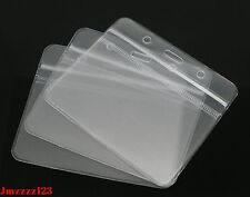 2 PCs Clear Plastic Horizontal ID Card Holder with ZIPPER ***AUSSIE SELLER***