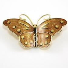 Vintage Hroar Prydz Sterling Silver Modernist Enamel Butterfly Pin Brooch
