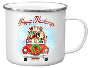 Punch Studio H8 Christmas Molly & Rex Enamel Coated Stainless Rimmed Mug Dog Car