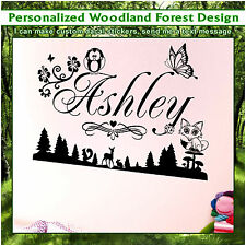 Personalized Fox Butterfly Hunting Vinyl Wall Art Sticker Children Kid Decal 074