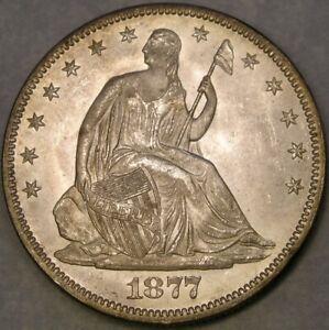 1877 LIBERTY SEATED SILVER HALF DOLLAR GORGEOUS VERY CRISP DRAPERY FEATHERS HAIR
