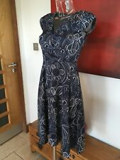 BNWT Stockh LM Size 8 Navy Patterned Cap Sleeve A-line Izabel Dress