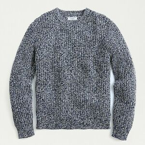NWT J.CREW Wallace & Barnes Marled Italian Cotton Crewneck Sweater - XS, Night