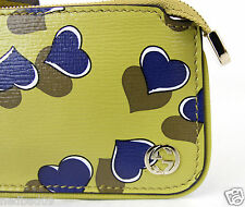 NWT GUCCI Yellow Leather Interlocking GG Heart Clip Coin Case Purse 233183 AV61G