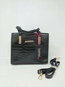 Women's Boohoo Crocodile Pattern Mini Tote Bag, Size OS - Black