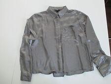 Bluse metallisch glänzend Taupe Gr.M- H&M wie Neu !Party!Langarm !Kurze Kastenf.