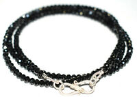 925 Sterling Silver Necklace Black Spinel Stone 4 mm Rondelle Faceted Beads YH47